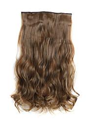 24 pulgadas de color marrón claro 120g largo y rizado 5 clip en extensiones de cabello calor fibras sintéticas resistentes