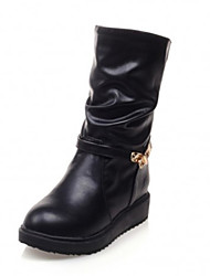Women's Shoes  Flat Heel Round Toe Boots Casual Black / White