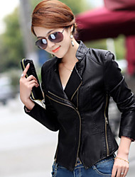 Women PU Leather Korean Short Motorcycle Outerwear / Top