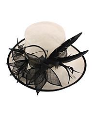 Women Sinamay Flowers  Kentucky Derby Hat Wedding Fascinators Hat Ivory with Black Flower
