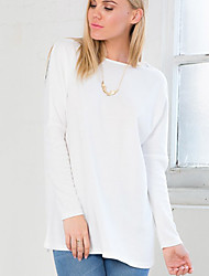 Camisetas ( Algodón )- Casual Redondo Manga Larga para Mujer