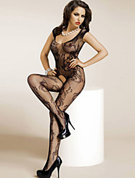 Women's Black Floral Mesh Crotchless Bodystocking