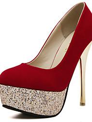 Homme-Mariage Décontracté Soirée & Evénement-Noir Rouge-Talon Aiguille-A Plateau Confort-Chaussures à Talons-Laine synthétique Paillette