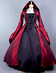 Red and Black Gothic Victorian Dress Hooded Dress Long  Halloween Costume