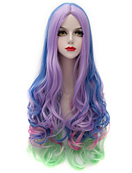 Eye Catching Colorful Mixed Purple/Blue/Green Long Wavy U Part Harajuku Purecas Vogue Cosplay Party Women Synthetic Wig