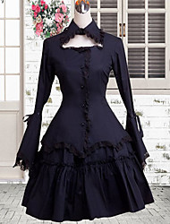 One-Piece/Dress Sweet Lolita Lolita Cosplay Lolita Dress Black Solid Sweet Lady Long Sleeve Knee-length Medium Length Dress For Women Cotton