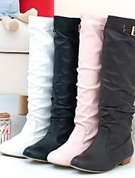 Zapatos de mujer - Tacón Bajo - Plegado / Punta Redonda - Botas - Vestido / Casual - Semicuero - Negro / Marrón / Rosa / Blanco