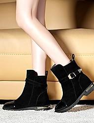 Zapatos de mujer - Tacón Bajo - Botas a la Moda - Botas - Vestido / Casual - Ante Sintético - Negro / Marrón