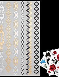 AML - Золотистый/многоцветный/Серебристый - Тату со стразами - Временные тату - для Женский/Мужской/Взрослый/Подростки - 4 - 20*9*0.1cm -