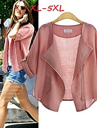 Women's Solid Blue/Pink/White Plus Size Coats & Jackets , Casual Tailored Collar ½ Length Sleeve