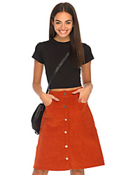 Women's Solid Skirts , Vintage Sexy Casual Party Work Knee-length