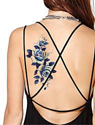 Yimei - Tatuajes Adhesivos - Non Toxic/Waterproof - Series de Flor - Mujer/Hombre/Adulto/Juventud - Azul - Papel - 5 - 21*10.2cm - YM-P003
