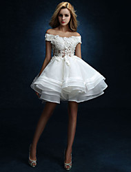 A-line Wedding Dress Knee-length Off-the-shoulder Tulle with Beading / Button / Draped / Lace