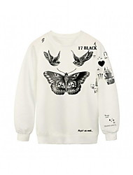 PinkQueen® Women's  Cotton/Polyester  Butterfly Tattoo Printed  Pullover Long Sleeve  Sweatshirt