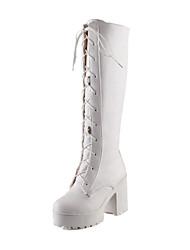 Women's Shoes Chunky Heel Platform/Fashion Boots Boots Dress/Casual Black/White