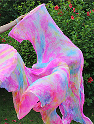New Belly Dance 100% Real Silk Fan Veils Belly Dance Hot Tie Dyed Colors Silk Fans 2pcs/L+R