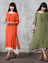 Large size   Women's Color Block Green Dresses , Casual Round ¾ Sleeve