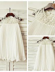 Sheath/Column Knee-length Flower Girl Dress - Chiffon Short Sleeve