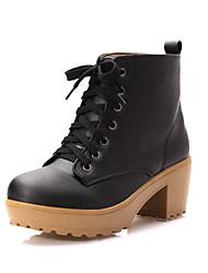 Women's Boots Fall / Winter Comfort / Round Toe Wedding / Outdoor / Dress Chunky Heel Split Joint /Brown /