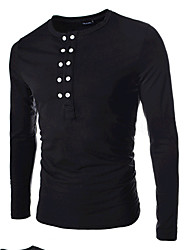 holiday,Men's Round T-Shirts , Cotton / Rayon Long Sleeve Vintage / Casual / Party / Work Fashion Fall holiday