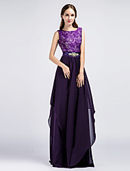 Formal Evening Dress Sheath / Column Jewel Floor-length Chiffon / Lace with Crystal Detailing / Lace