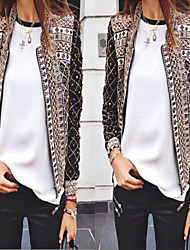 Women's Print Black Coats & Jackets , Casual Stand Long Sleeve