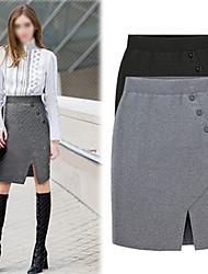 Faldas ( Prendas de punto )- Bodycon / Casual Tiro Medio Sobre la Rodilla para Mujer