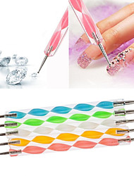 1PCS 2-way 2-end Dotting Marbleizing Pen Nail Art Tool Multi-color(13cm Length,Random Color)