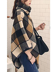 LYOU Women's Plaid Multi-color Coats & Jackets , Vintage / Sexy / Bodycon / Work Cowl ¾ Sleeve
