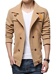Men's Fashion More Decorative Buckle Wool Coat, Cotton/Polyester Pure