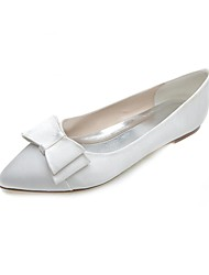 Women's Spring Summer Fall Winter Satin Wedding Party & Evening Flat Heel Bowknot Black Blue Pink Purple Ivory White Silver