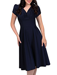 Women's Retro 50s Deep V Neck Solid Color Short Sleeve Swing Party Dress