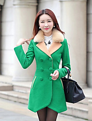 Women's Patchwork Blue/Red/Black/Green/Purple Coats & Jackets , Casual/Work V-Neck Long Sleeve