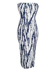 Women's Navy White Strapless Tie Dye Maxi Dress