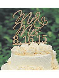 Décorations de Gâteaux Personnalisé Couple classique Cœur Papier durci Mariage Commémoration Fête prénuptiale JauneThème floral Thème