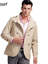 Lesmart Men's Spring Fall Business Casual Double Breasted Easy-care Anti-wrinkle Slim Fit Short Trench Coat