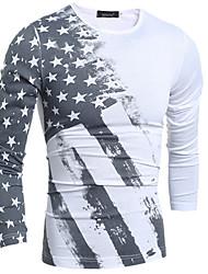 Men's High-Neck T-Shirts , Cotton / Rayon Long Sleeve Vintage / Casual Fashion Winter / Fall meet