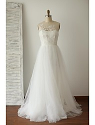 A-line Wedding Dress Sweep / Brush Train Jewel Lace / Tulle with Button / Embroidered