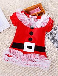 Vestido Chica de - Invierno - Mezcla de Algodón - Rojo