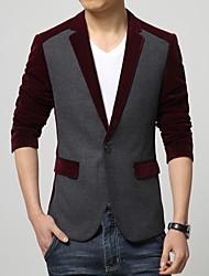 Masculino Blazer Casual / Escritório / Formal Cor Solida Manga Comprida Algodão Preto / Vermelho