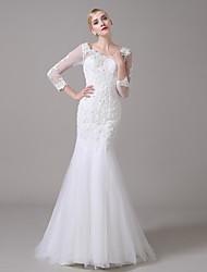 Trumpet/Mermaid Wedding Dress - White Floor-length Scoop Organza