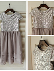Sheath Knee-length Flower Girl Dress - Chiffon/Sequined Short Sleeve
