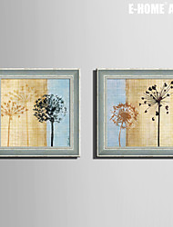 E-HOME® Framed Canvas Art, Dandelion And Small Wild Flowers Framed Canvas Print Set of  2