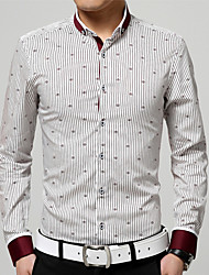Men's Casual/Daily Work Formal Plus Size Shirt,Striped Print Long Sleeve Cotton