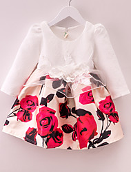 Girl's White Dress,Floral / Dresswear Polyester Fall