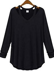 Damen Solide Einfach Lässig/Alltäglich T-shirt,V-Ausschnitt Herbst Langarm Schwarz / Grau Baumwolle Dünn