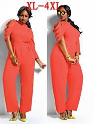 Plus Size (XL-4XL)Women's Plus Size Jumpsuit , Vintage / Sexy / Beach / Casual / Cute / Party Round Long Sleeve