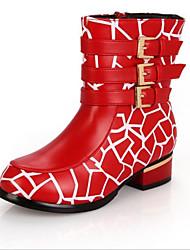 Støvler ( Sort / Rød / Hvid ) - GIRL - Rund tå / Modestøvler