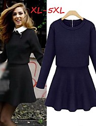 Women's Solid Blue/Black Plus Size Dresses , Casual/Work Shirt Collar Long Sleeve