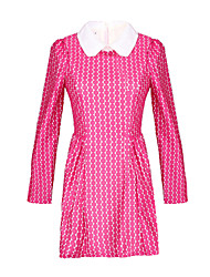 Women's Print Pink / Yellow Dress , Print Shirt Collar Long Sleeve